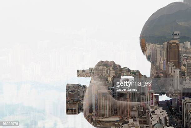 Man with camera, double exposure