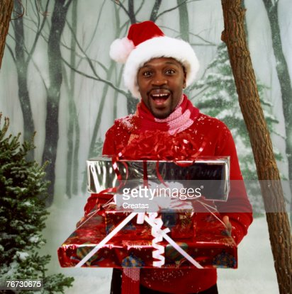 Man with Christmas packages : Foto de stock