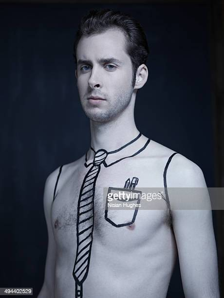Man with clothing drawn onto his skin