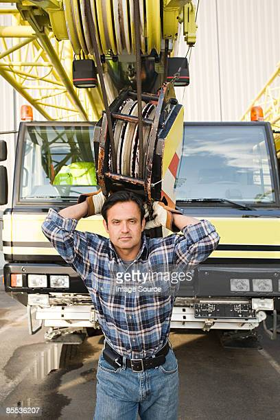 Man with crane truck