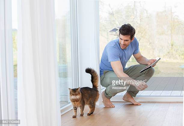 Man with digital tablet looking at cat