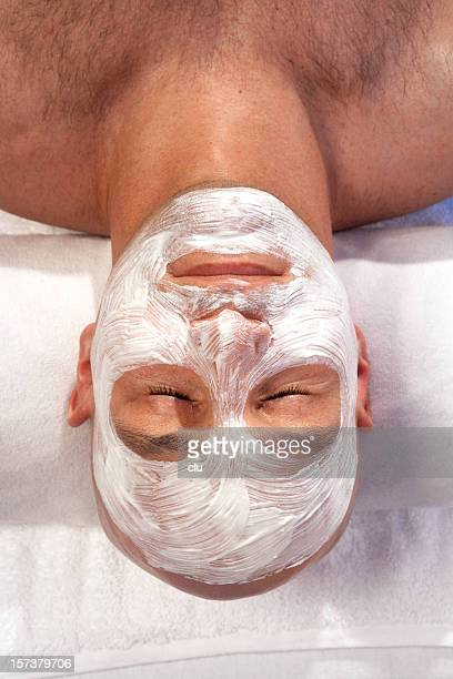Man with face spa treatment
