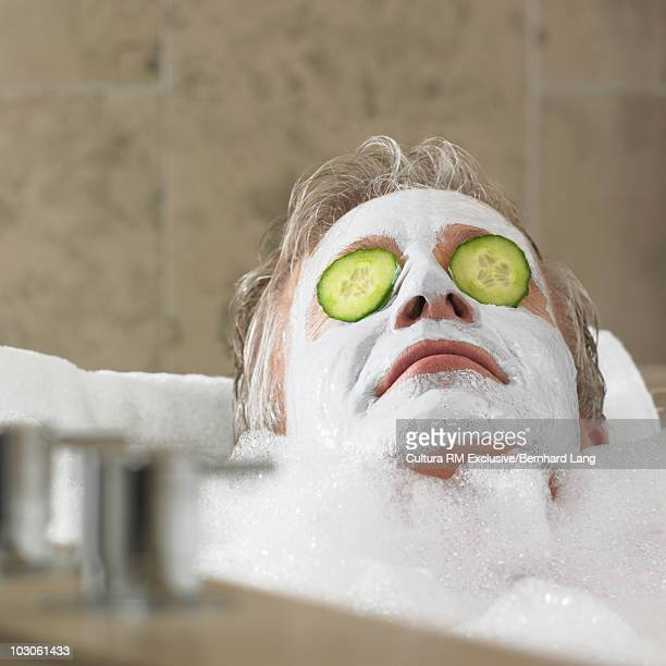 Man with facial mask