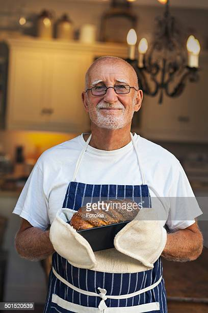 Man with Freshly Baked Bread