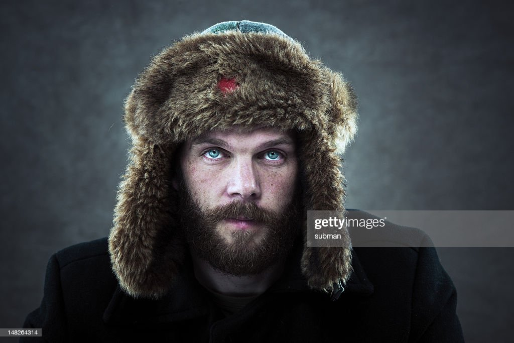 Man with fur hat : Stock Photo
