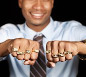 Man with gold rings