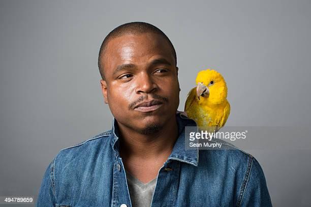 Man with Golden Parakeet on shoulder