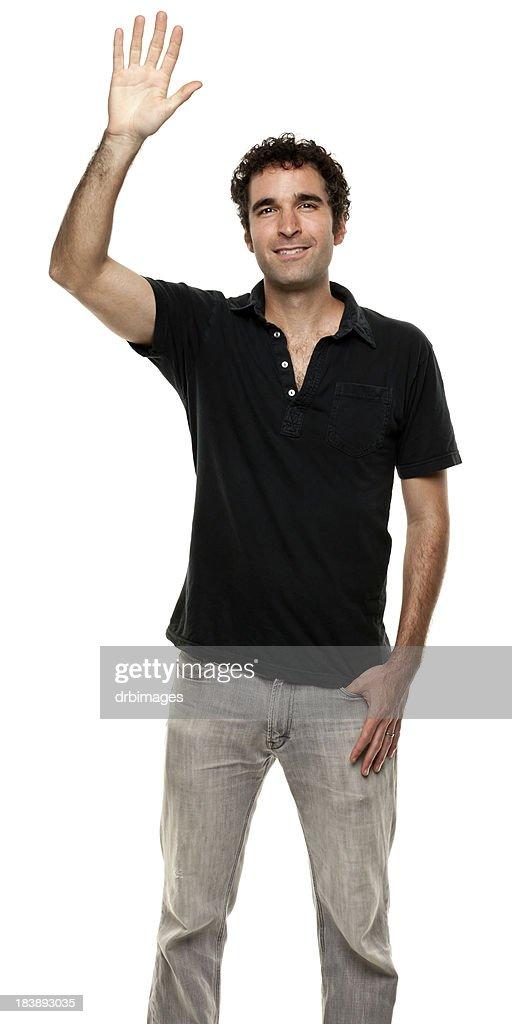 'Man With Hand Raised, Waving'