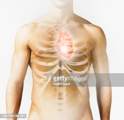 Man with heart and ribs image over chest, close-up (Digital Composite) : Stock Photo