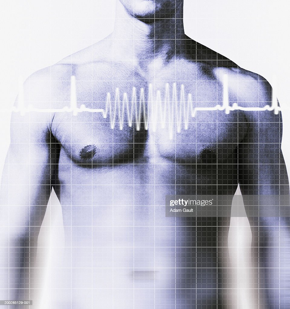 Man with heart rate graph over chest, mid section (Digital Composite) : Stock Photo