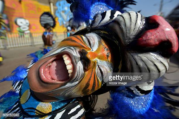 A man with his face painted as a tiger performs during La Gran Parada de Fantasía as part of Carnaval de Barranquilla 2016 on February 08 2016 in...