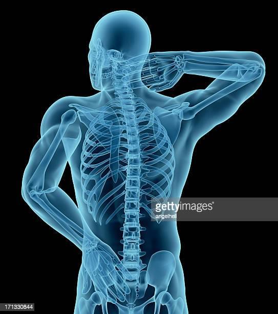 Homem com a mão no pescoço e parte inferior das costas