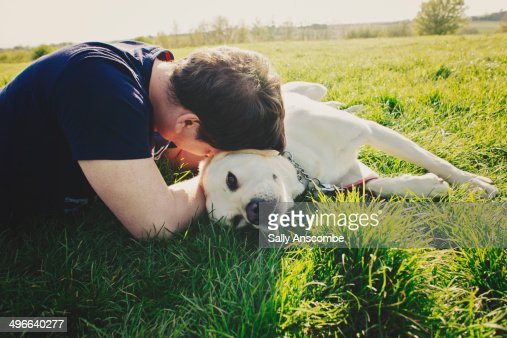 Man with his pet dog outdoors