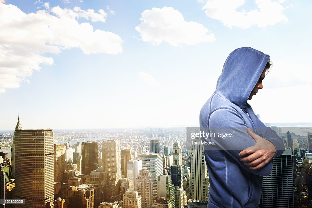 man with hooded top in new york city : Stock Photo