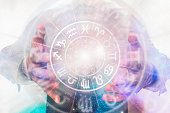 Man with horoscope circle in his magic hands - concept of predictions of the future