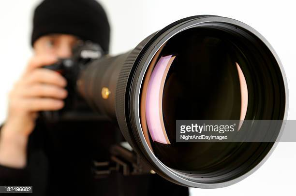 Man with Huge Telephoto Lens
