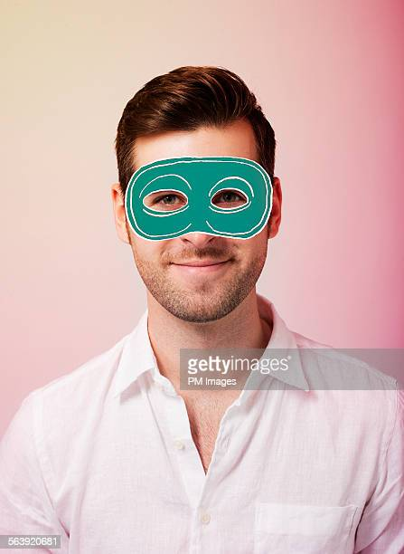 Man with illustrated mask