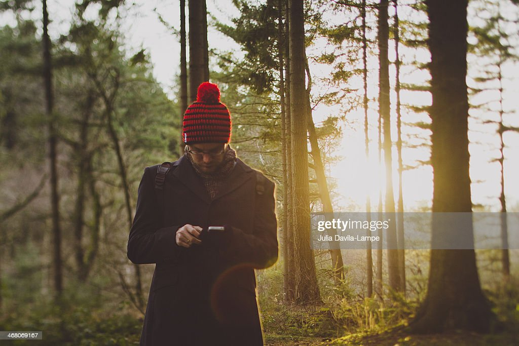 Man with iphone in the woods : Stock Photo
