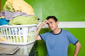 Man with laundry basket