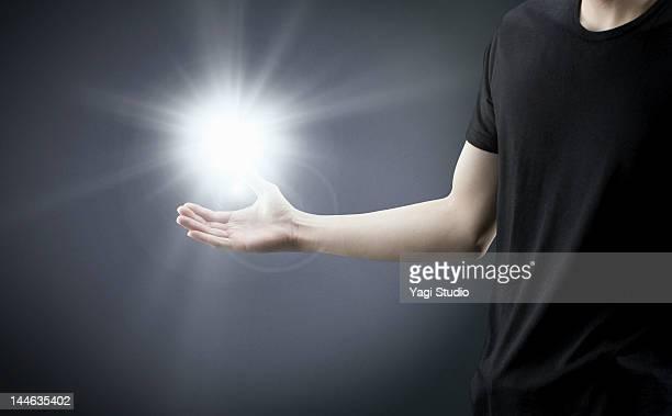 Man with light.