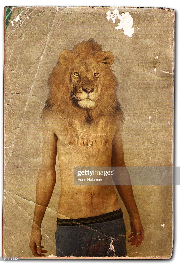 Man with lion's head on the book cover : Stock Photo