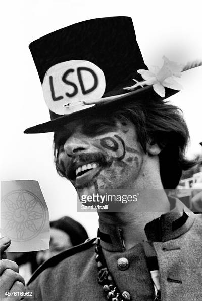 A man with LSD sign on May 5 1967 in New York New York