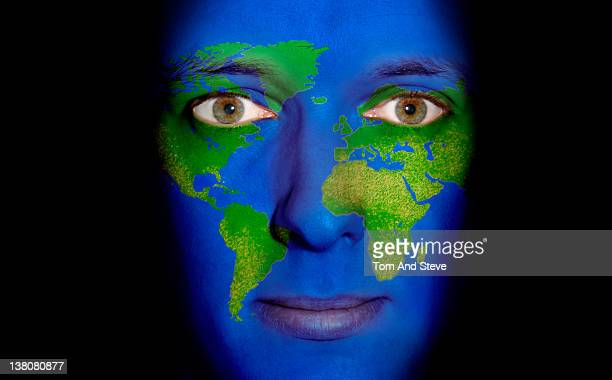 Man with Map of the world painted on face