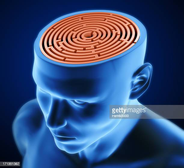 Man with maze inside skull