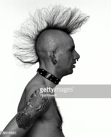 Man with mohawk, profile (B&W)