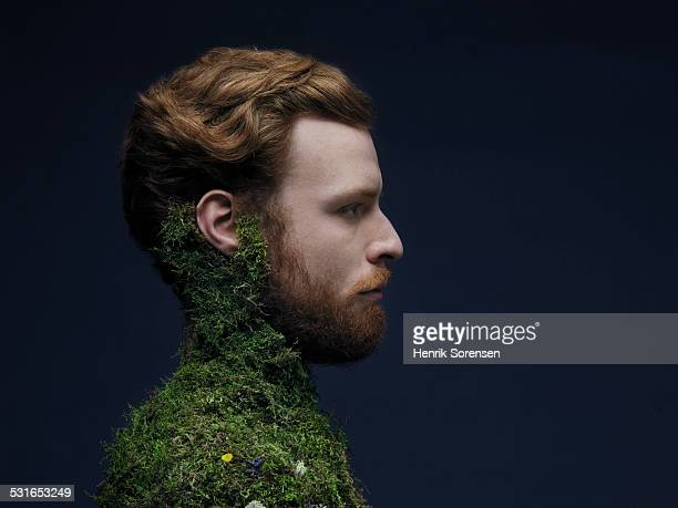 man with moss on his body