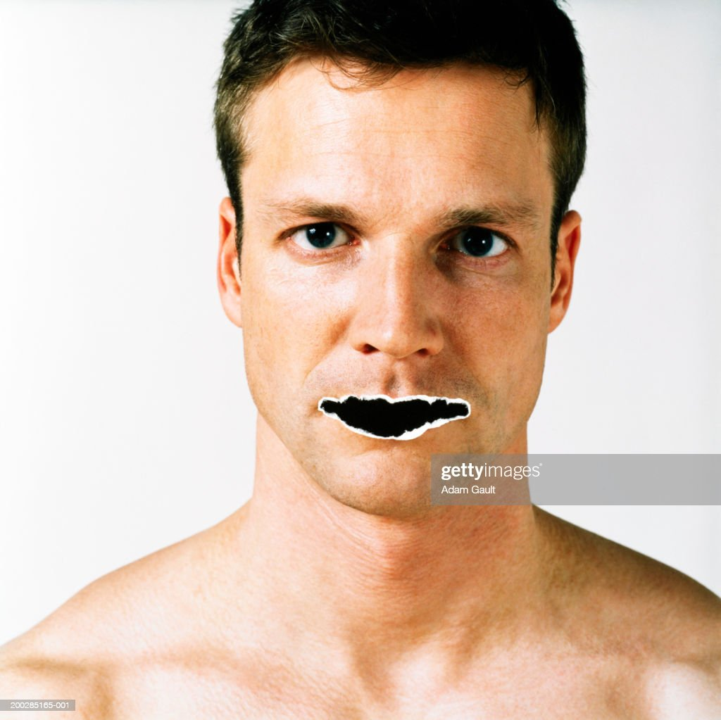 Man with mouth 'torn out', close-up, portrait : Stock Photo