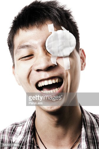 Man with patch over eye