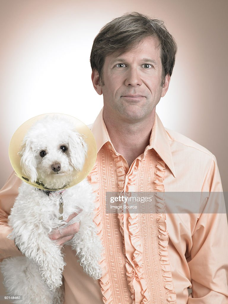 Man with pet poodle