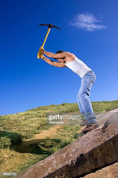 Man with pick axe