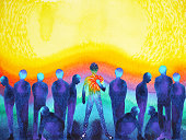 man with positive power and universe light watercolor painting abstract art