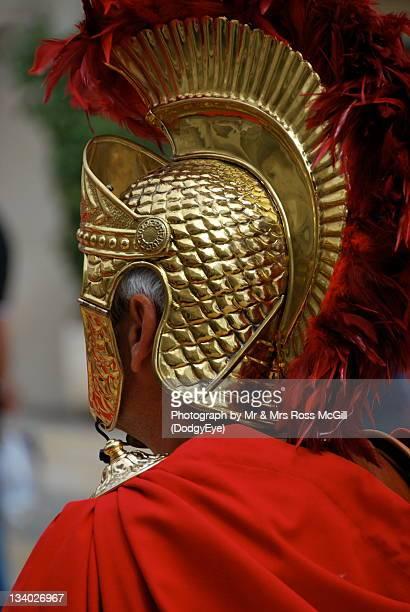 Man with roman helmet