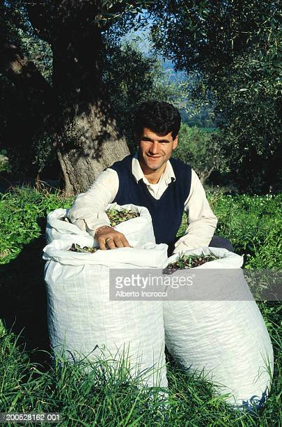 Man with sacks of harvested olives