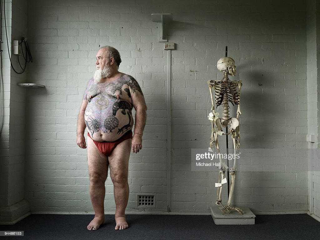 Man with skeleton : Stock Photo