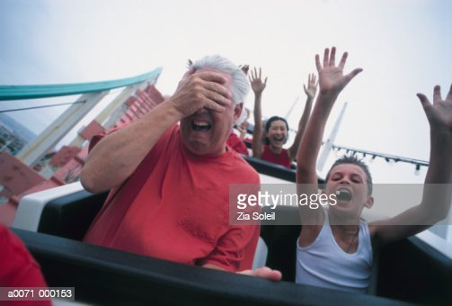 Man with Son on Rollercoaster