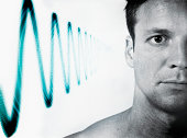 Man with 'soundwave' at side of head (Digital Composite)