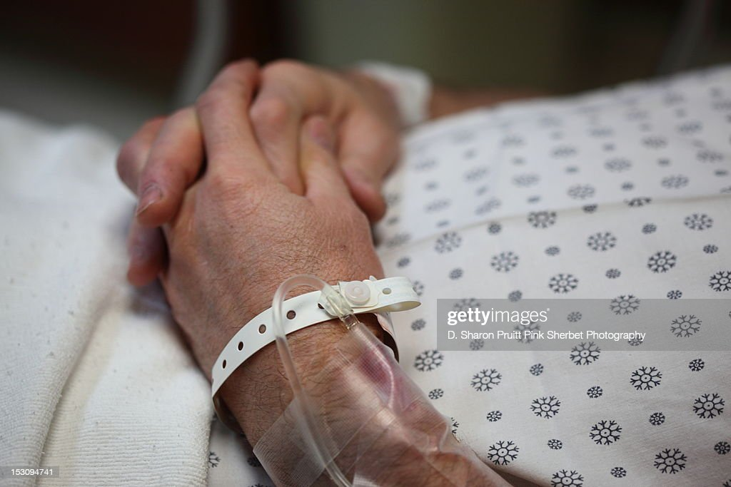 Man with surgery Pre-op IV Line : Stock Photo
