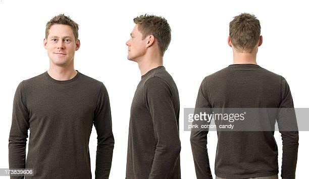 Homme avec trois positions