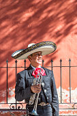 Man with trumpet from Mariachi group, Mexico