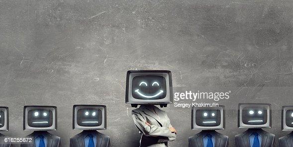 Man with TV instead of head . Mixed media : Foto de stock