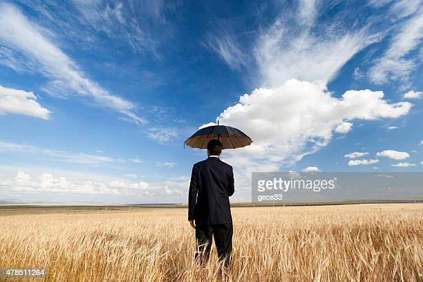 Man with umbrella on Wheat Field
