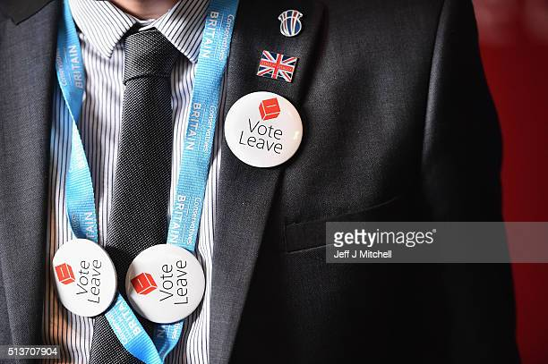 A man with vote leave EU badges attends the Scottish Conservative Party spring conference on March 4 2016 in Edinburgh Scotland Prime Minister David...