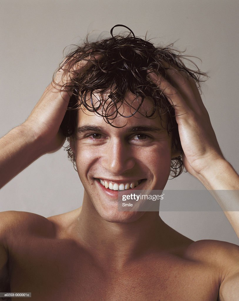 Man with Wet Hair : Stock Photo