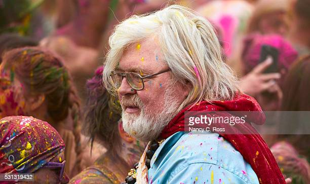 Man With White Beard Celebrates Festival of Color