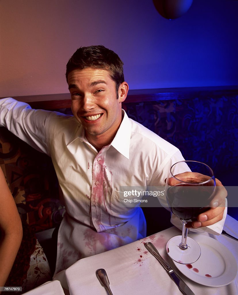 Man with wine stain on shirt stock photo getty images for Wine stain white shirt