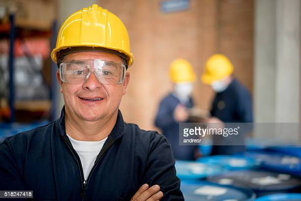 Man working at a chemical plant